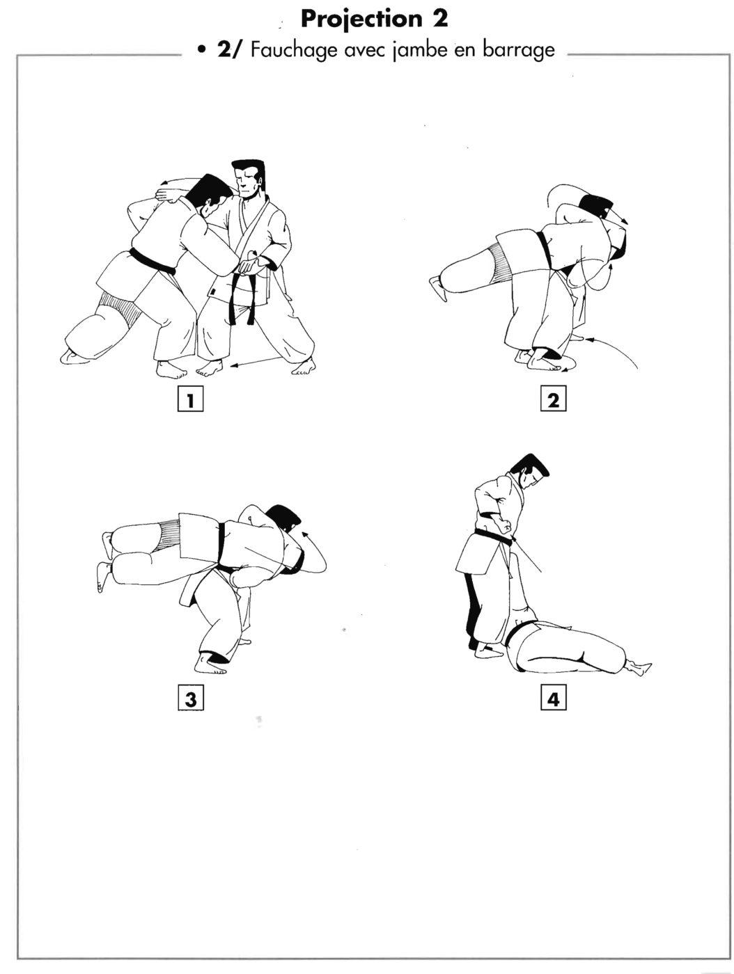 Projection : tai otoshi – renversement avec jambe en barrage
