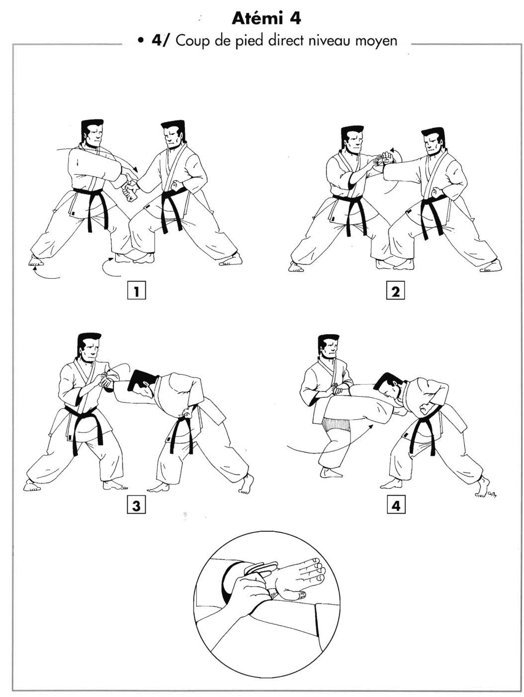 Atemi : chudan mae geri – coup de pied direct niveau moyen