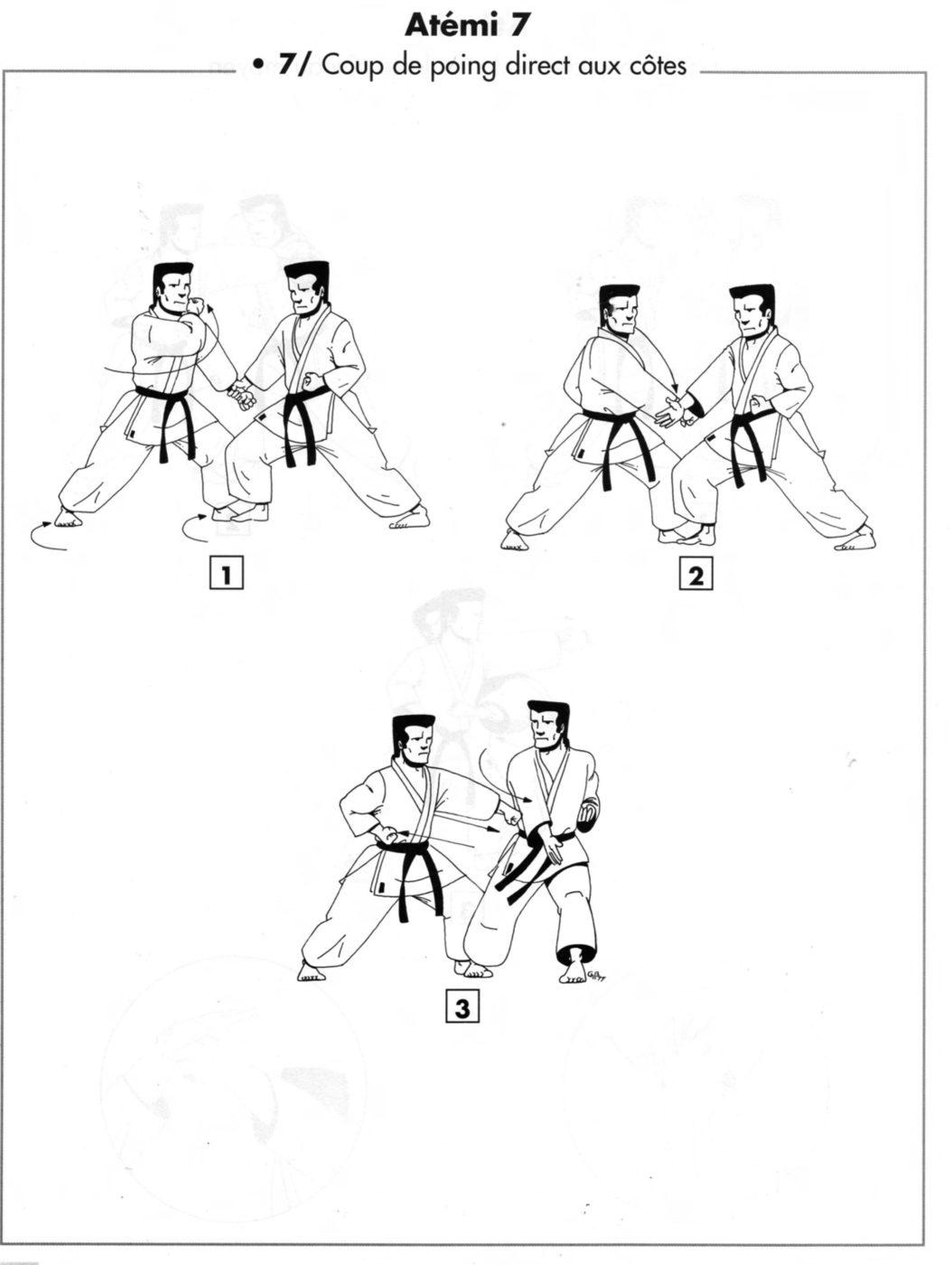Atemi : chudan kimazi tsuki – coup de poing direct aux côtes