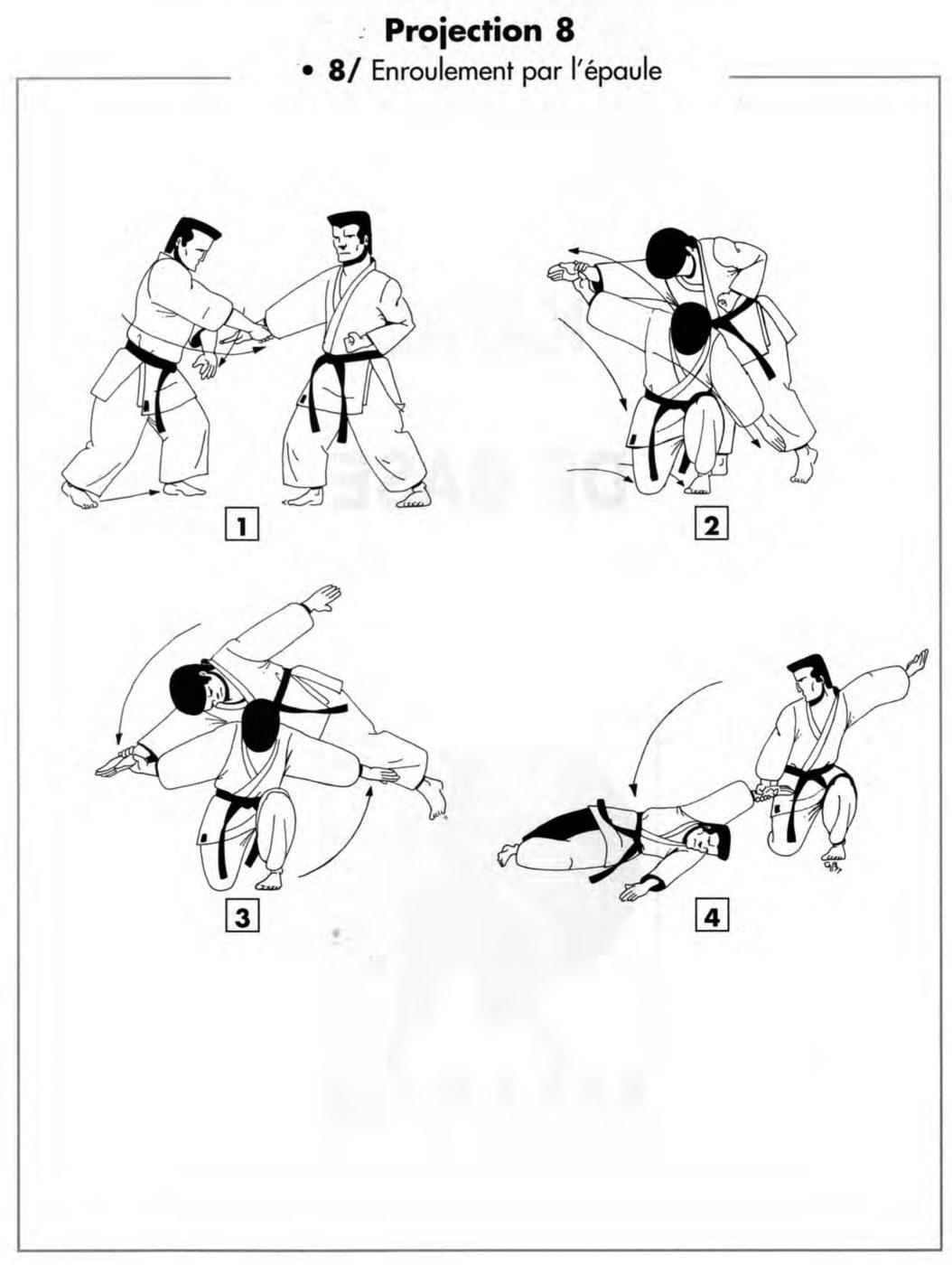 Projection : kata hiza guruma – roue autour des épaules à genou